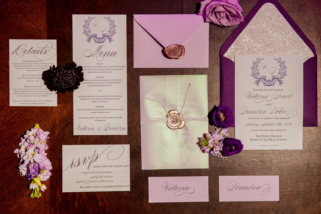 calligraphy full invitation suite for florida fairy tale castle wedding