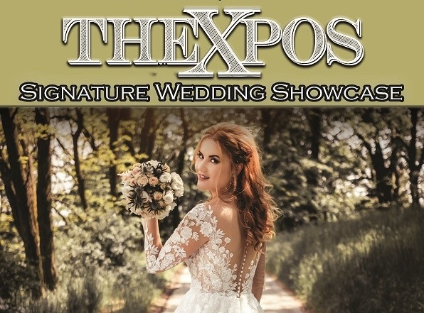 bride holding flower bouquet while walking outside the xpos signature wedding showcase