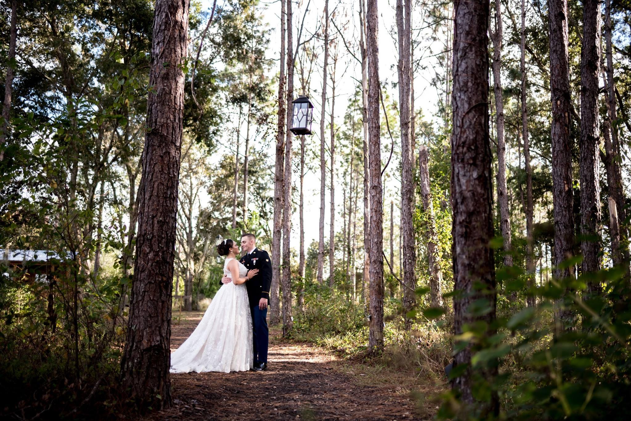 bride & groom in woods