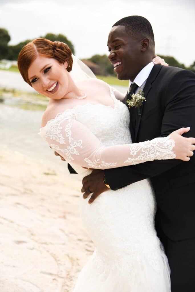 bride and groom by water, Bridlewood Ranch