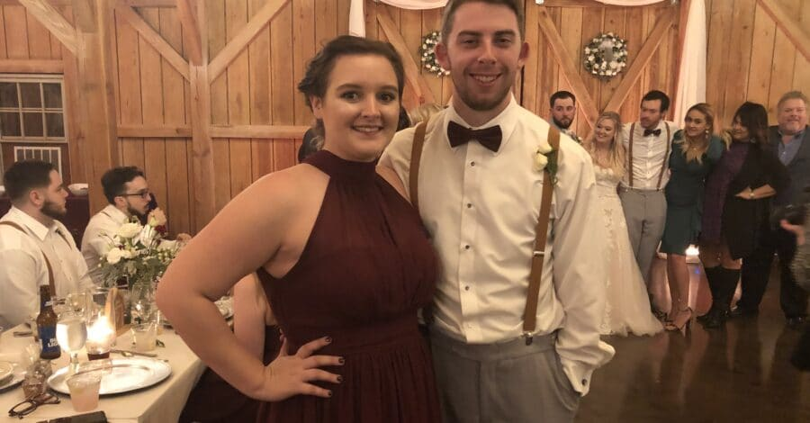 bride and groom to be at wedding as guests