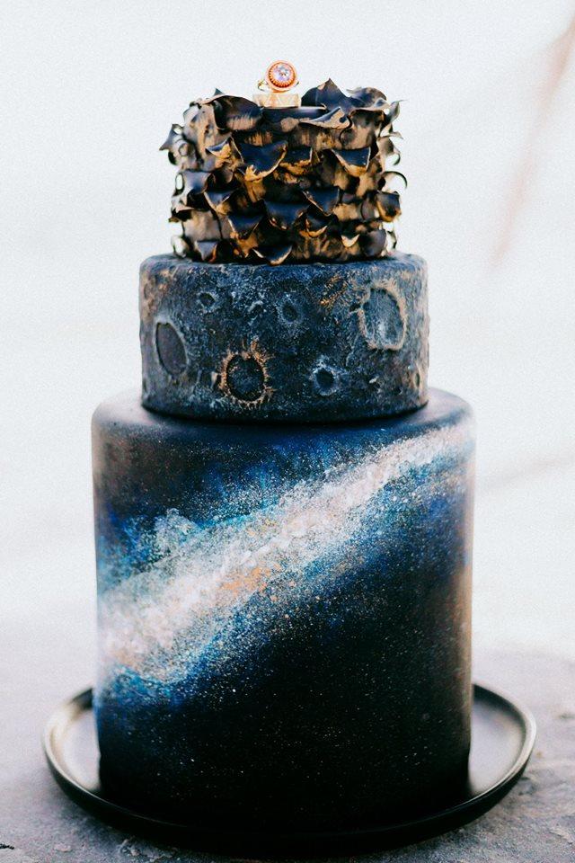 three tier galaxy cake