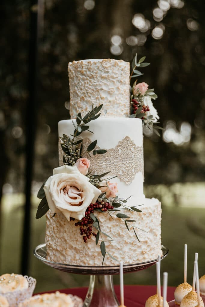Sweet Miss V's white and floral 3 tier cake