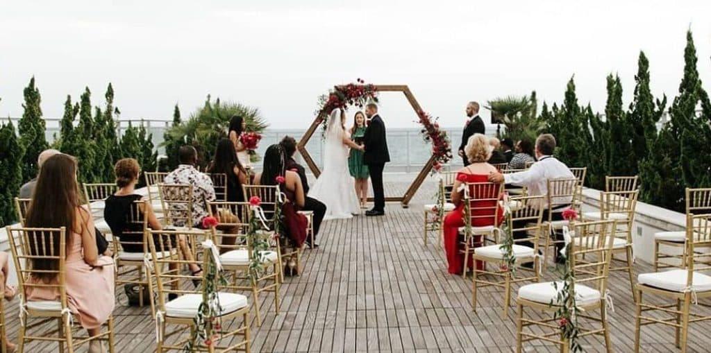 ceremony overlooking water
