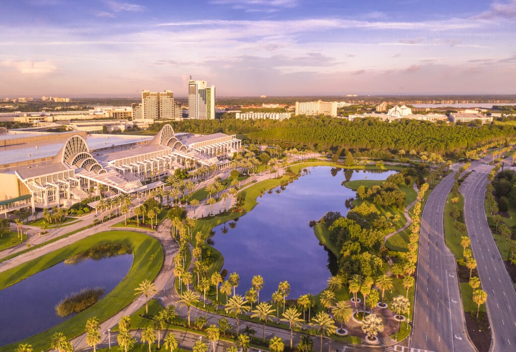 Orange County Convention Center entrance, with beautiful central florida in background