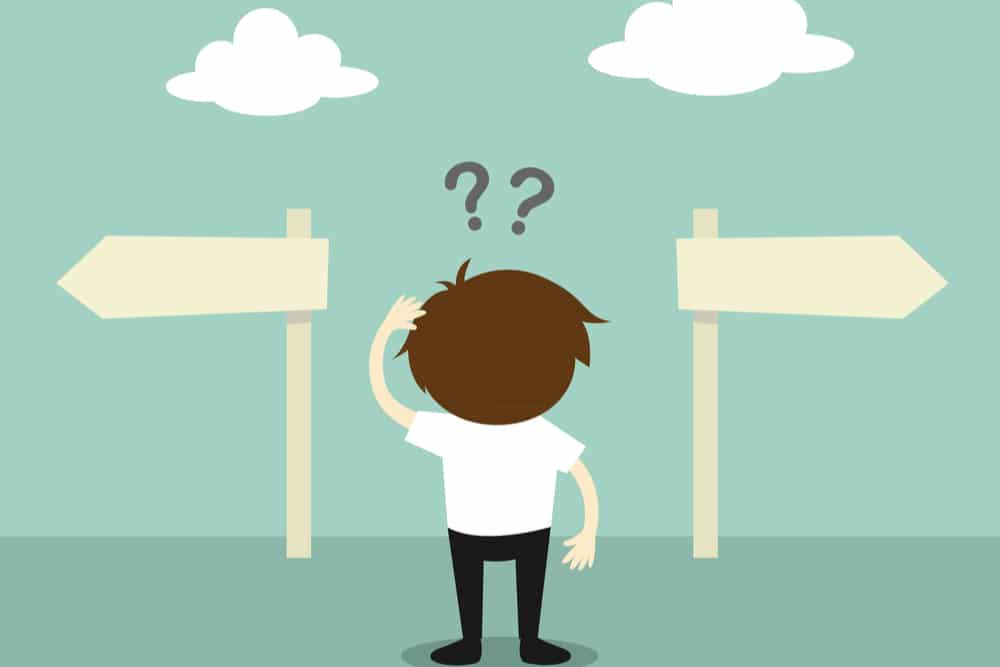 cartoon figure confused stands in front of two arrow signs going two different directions with clouds above them