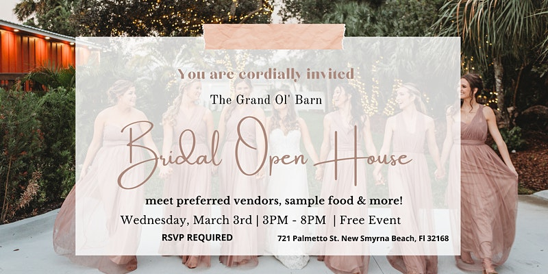 bridal open house, March 3rd in New Smyrna Beach