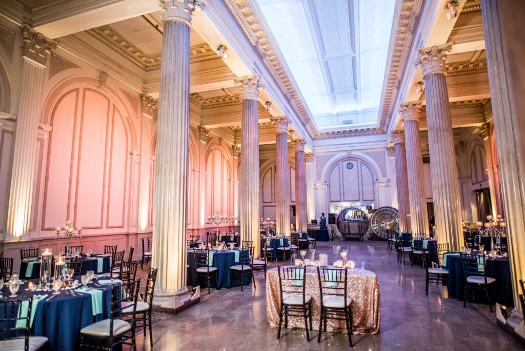 large room at the treasury on the plaza setup and decorated for wedding reception