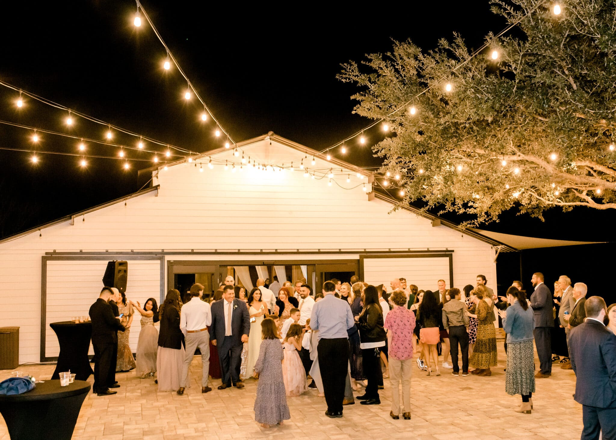 Dragonfly Farms outdoor cocktail hour with lights