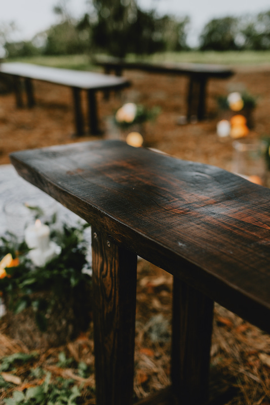 wood sitting bench for wedding ceremony