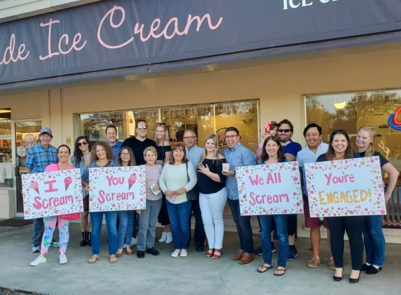 family and friends celebration kelly's ice cream marriage proposal