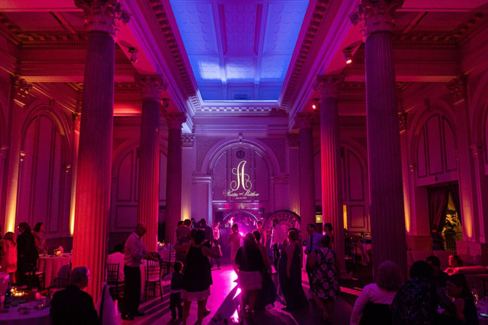 reception area at the treasury on the plaza with custom gobo light on the far wall