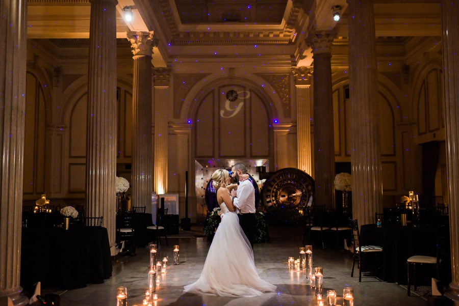 bride and groom dancing alone on a candle lined dance floor