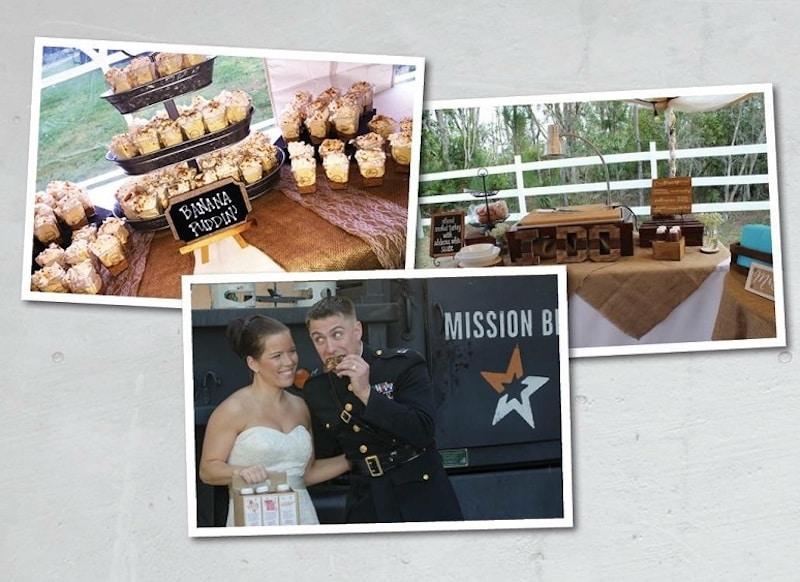bride and groom enjoying Mission BBQ on their wedding day