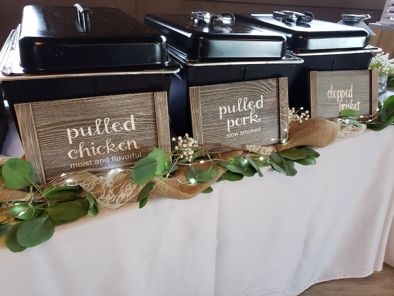 pulled chicken, pulled pork, and chopped brisket served in wedding buffet from Mission BBQ