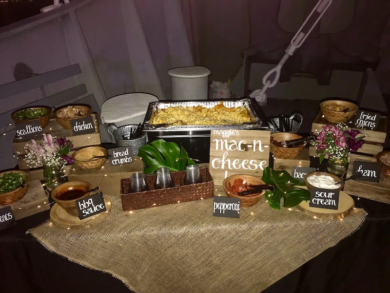 mac-n-cheese station for wedding reception from Mission BBQ