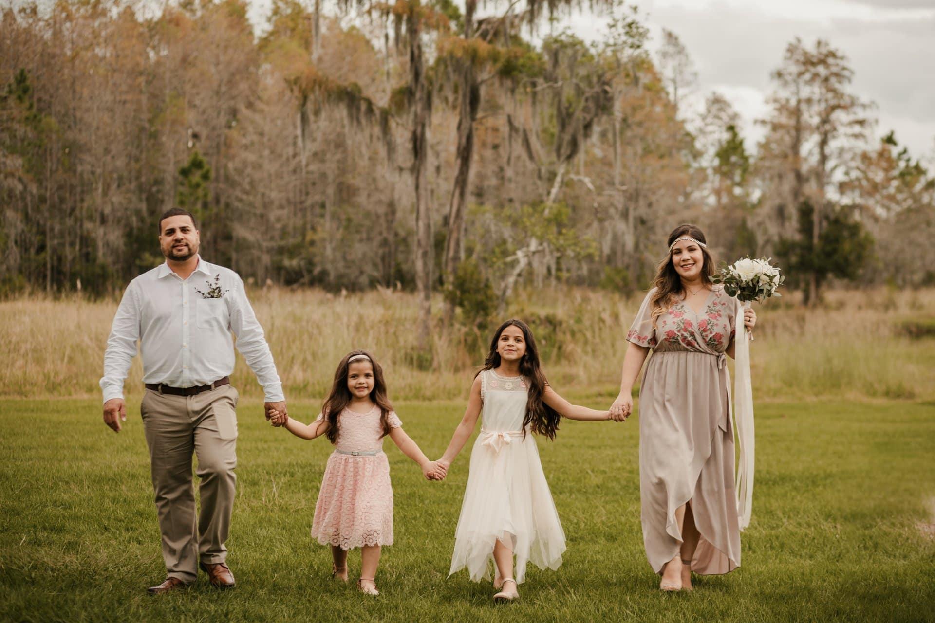 Family walking in the field