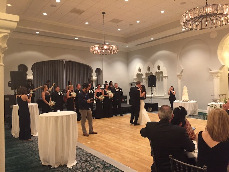 Paradigm Party Band performs while couple shares first dance