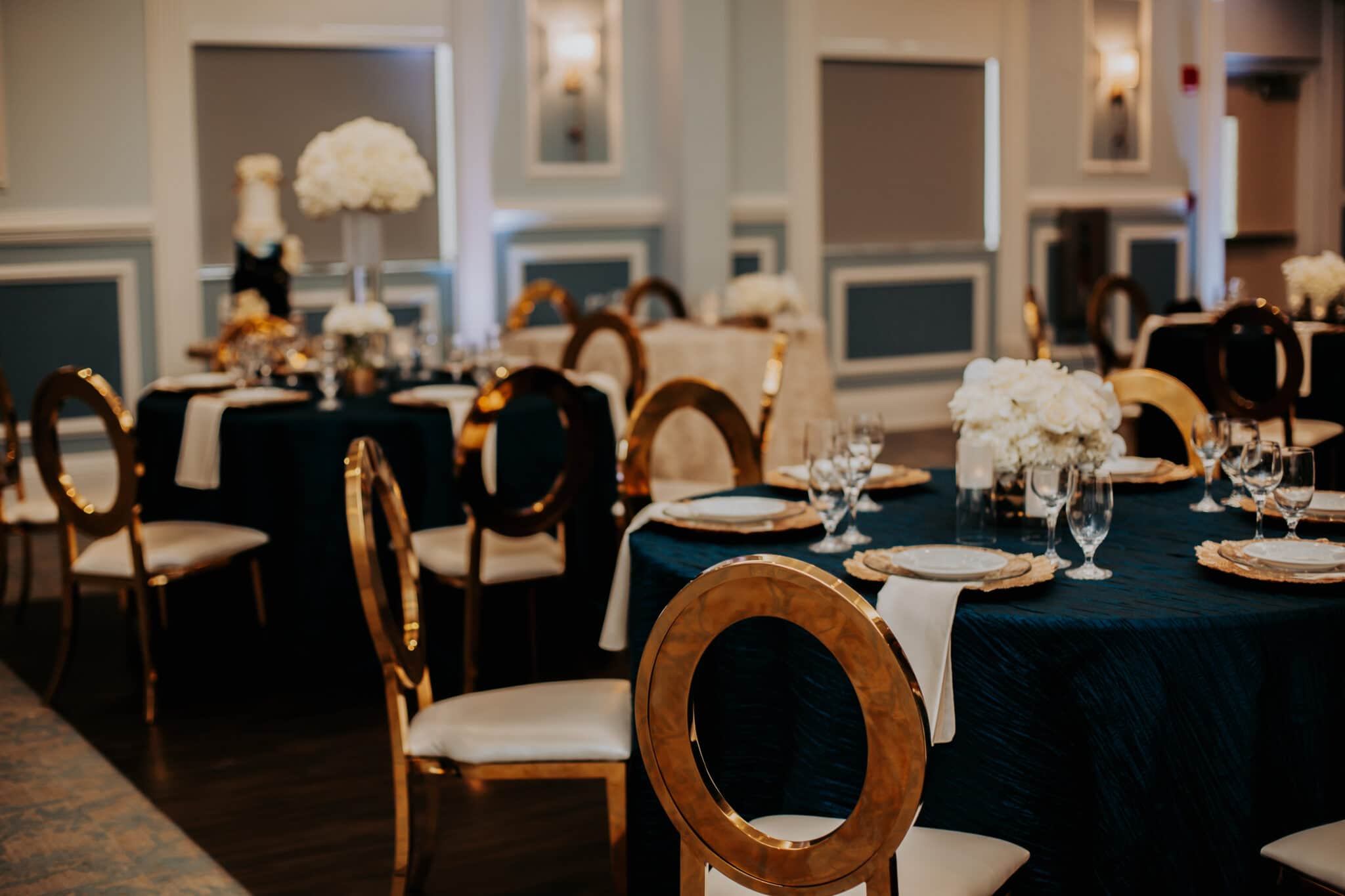 navy & gold table setting