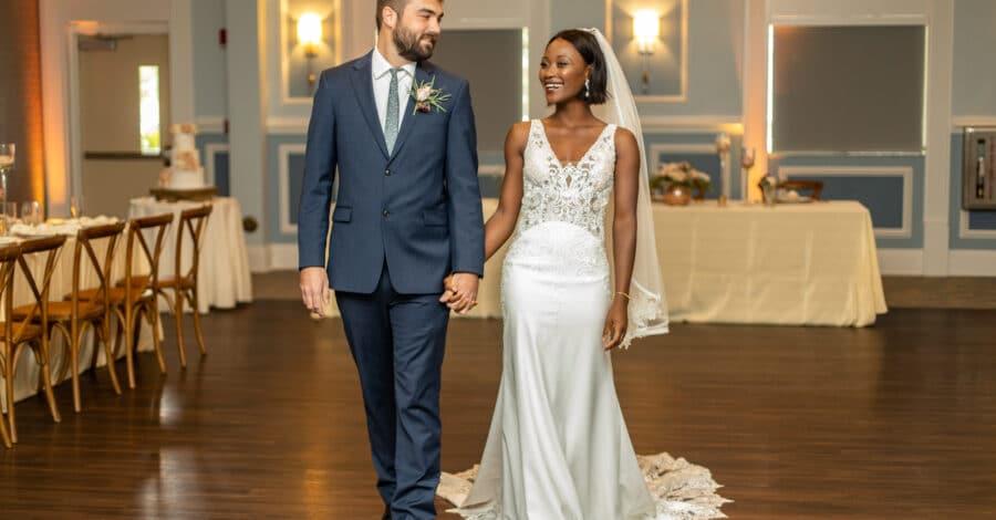 bride & groom in the BEV ballroom