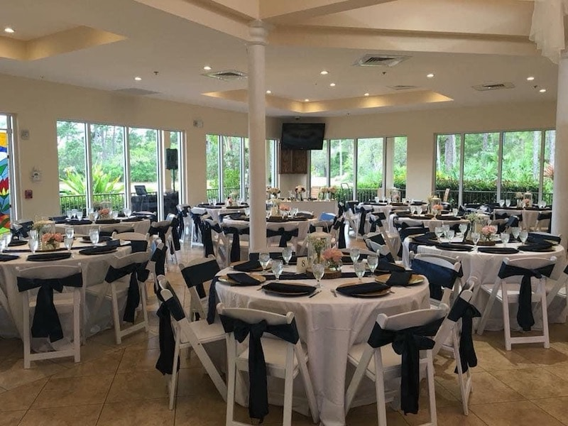 large room decorated for wedding reception