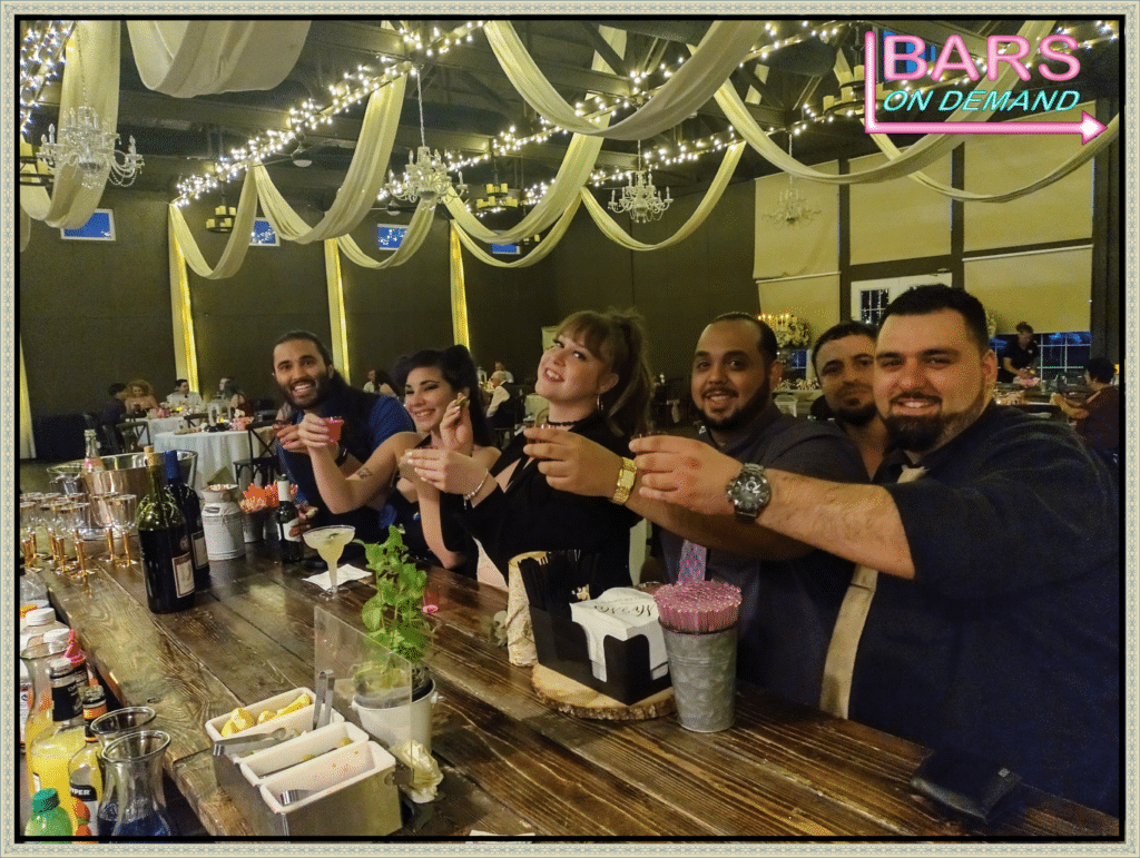 group of friends ready to take a shot from Bars on Demand