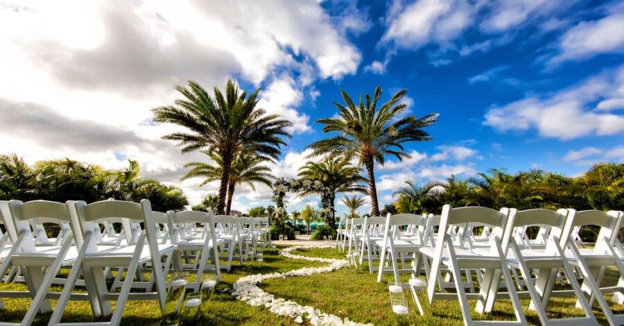 outdoor wedding ceremony area at Margaritaville Resort Orlando