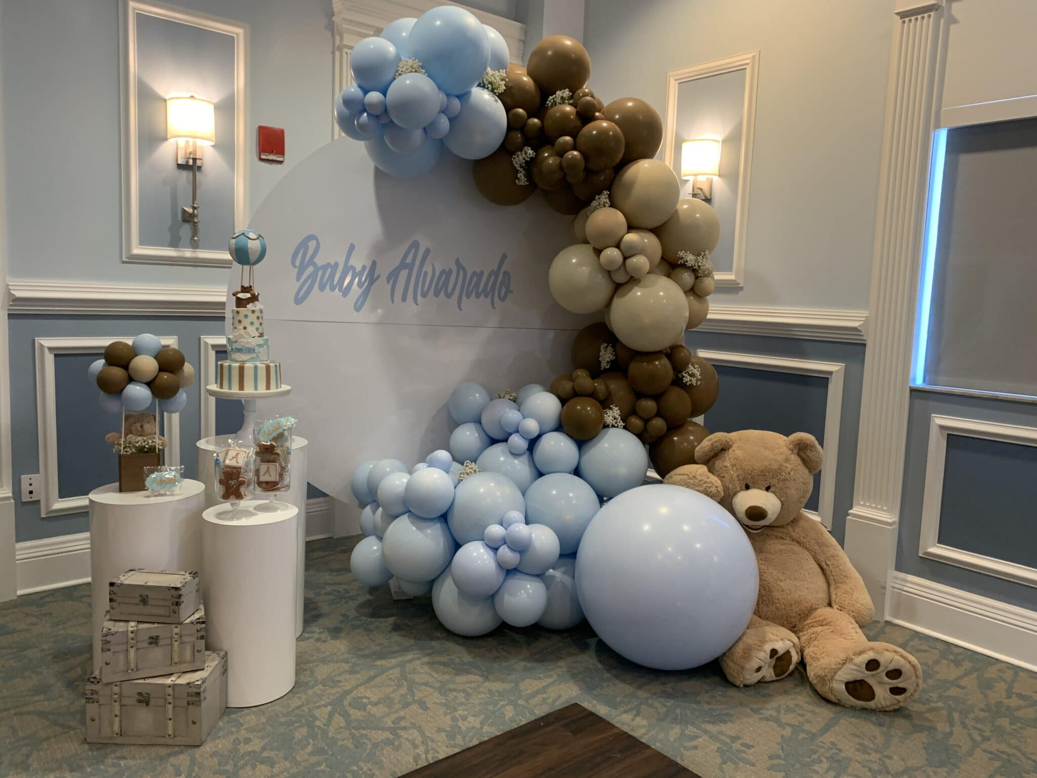 blue baby shower with balloon display