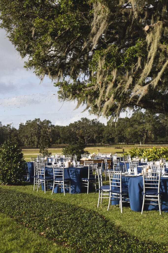 tables setup for wedding reception with blue linens and chairs outside under a large tree