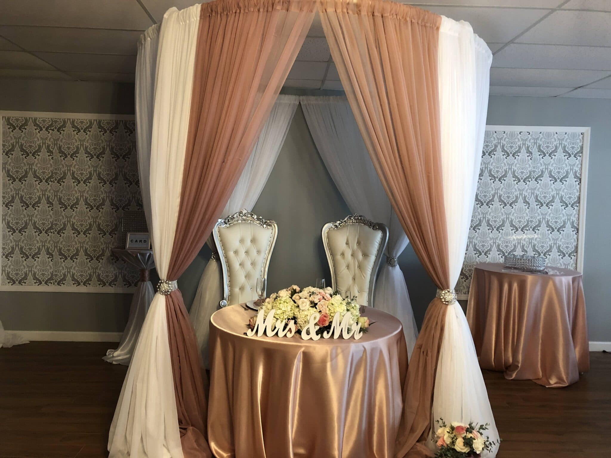 head table under canopy