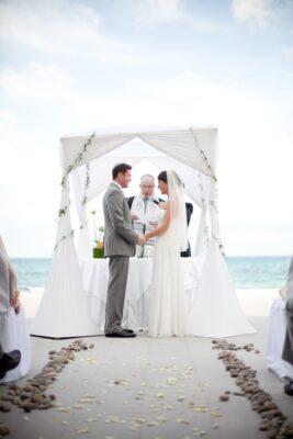 Florida beach Jewish wedding under chuppah