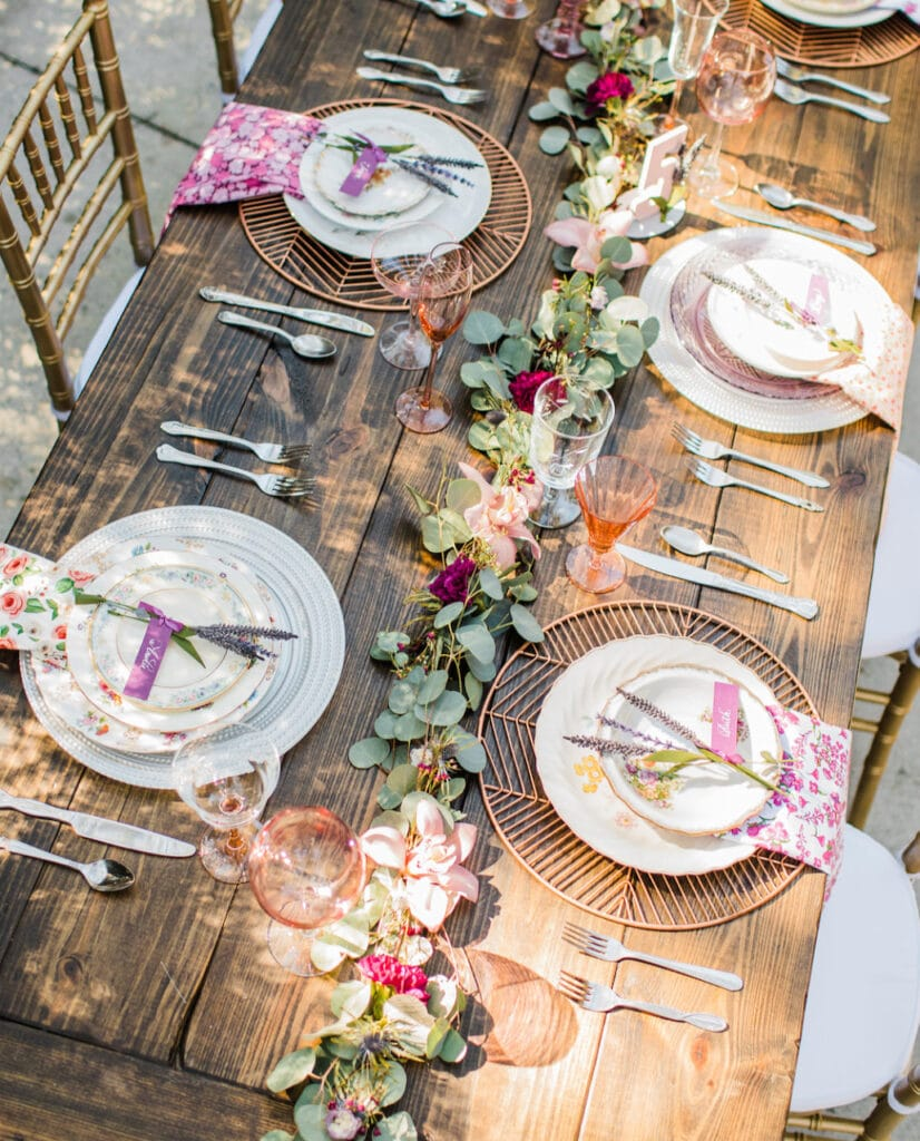 table set up using plates from The Vintage Dish