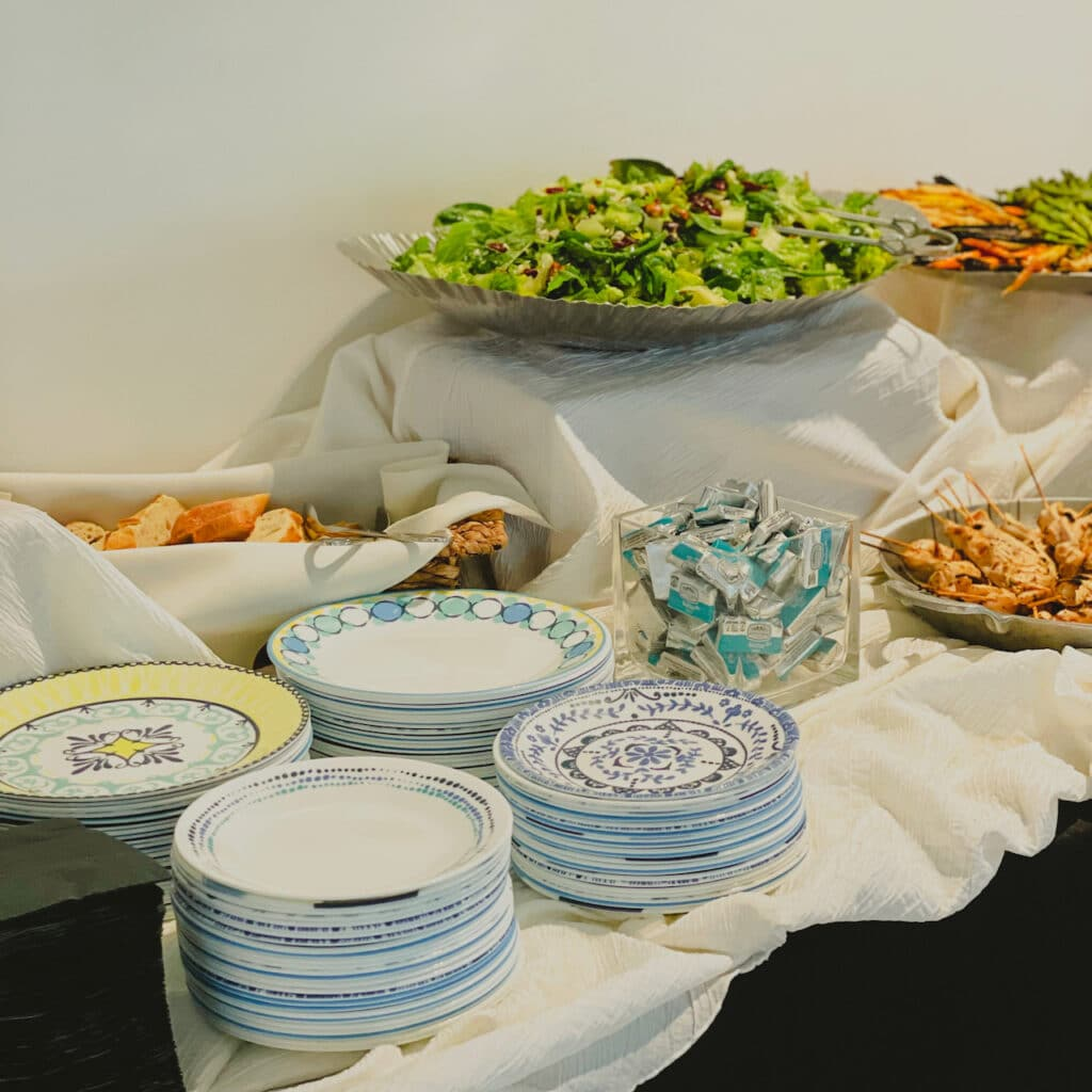 unique and authentic china set up for buffet from The Vintage Dish