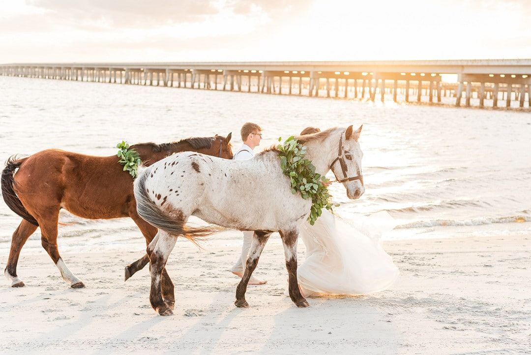 a brown horse and a white horse with greenery around their necks walking down the beach during sunset
