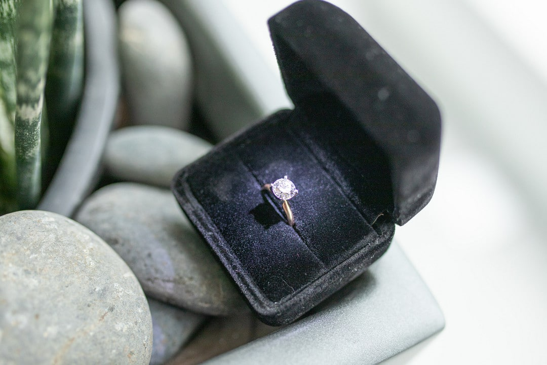 new engagement ring for the aerial marriage proposal in the ring box