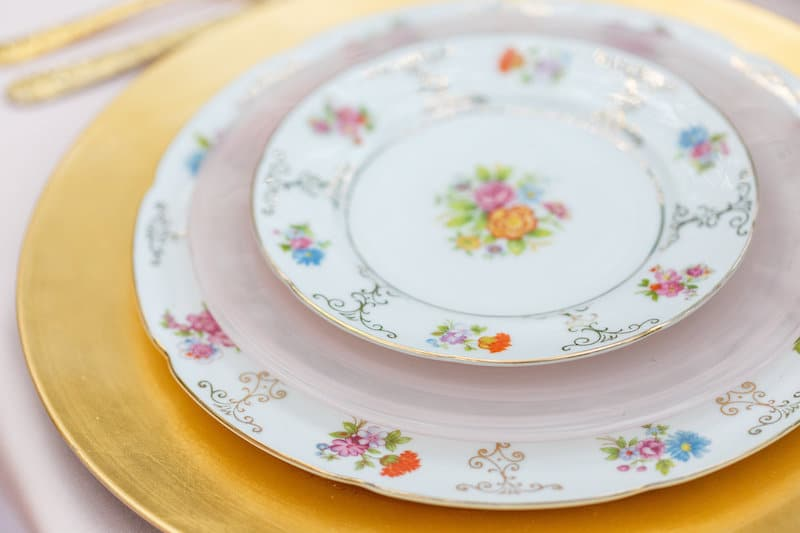 beautiful plates available to rent from The Vintage Dish - Timely Tableware