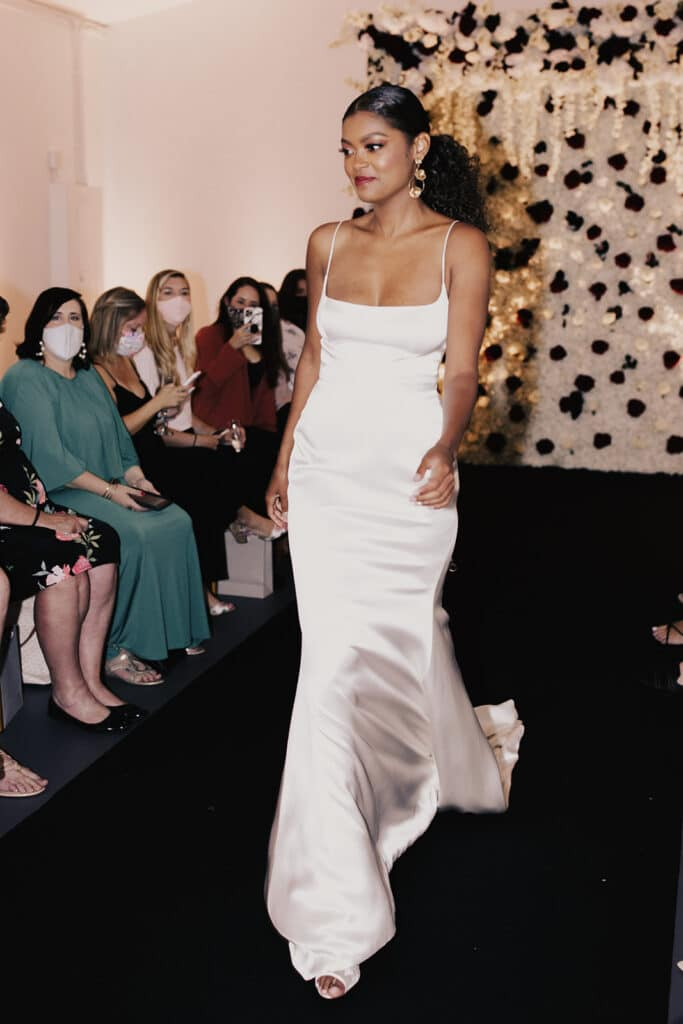 model in wedding dress at the bridal finery