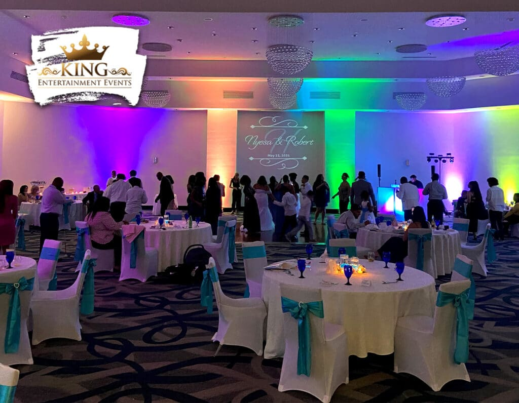 wedding reception uplights and dj setup by King Entertainment Events
