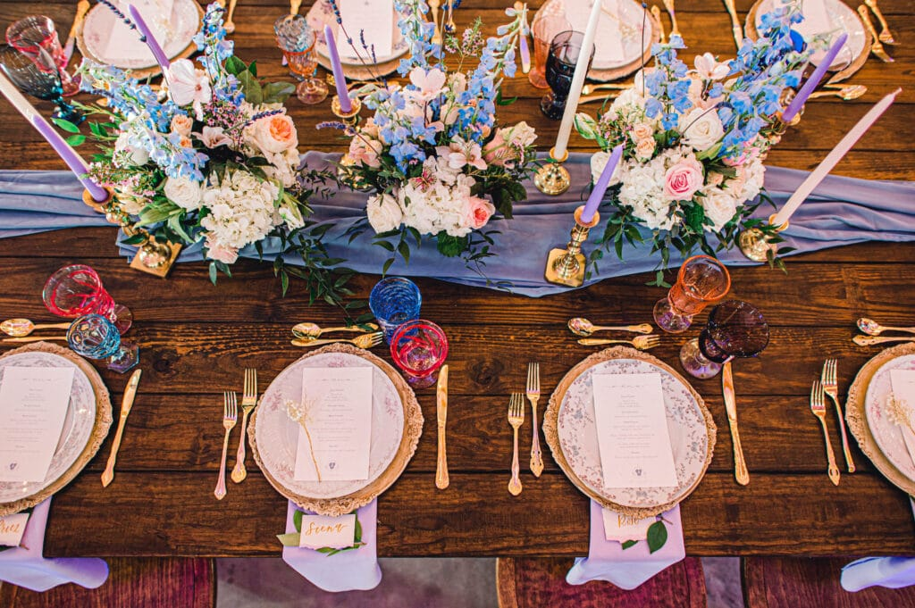 table decorated with blue red and purple accents