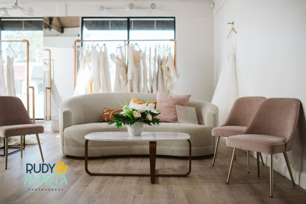 sitting area at the bridal finery