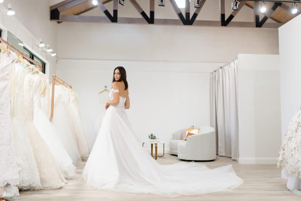 bride in dress at the bridal finery