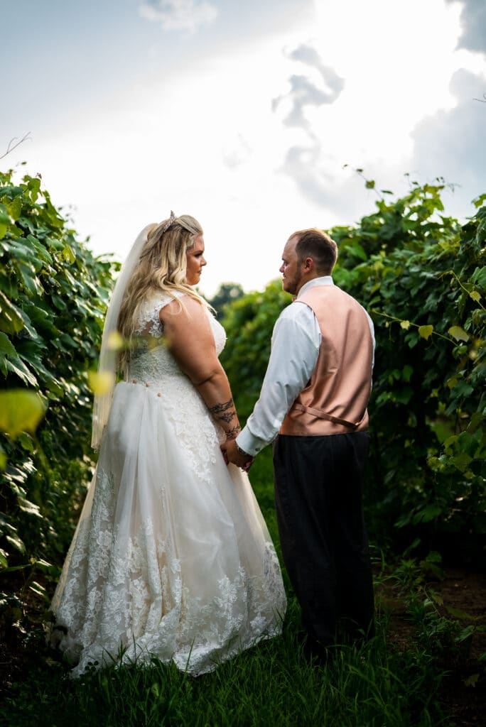 bride and groom holding hands at a vineyard