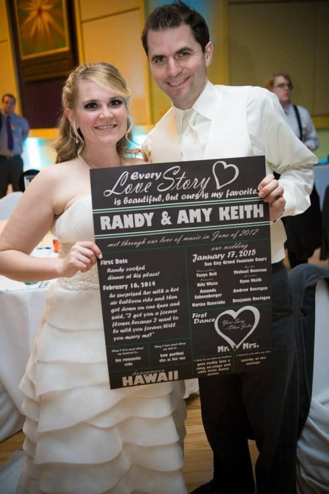 bride and groom with story board