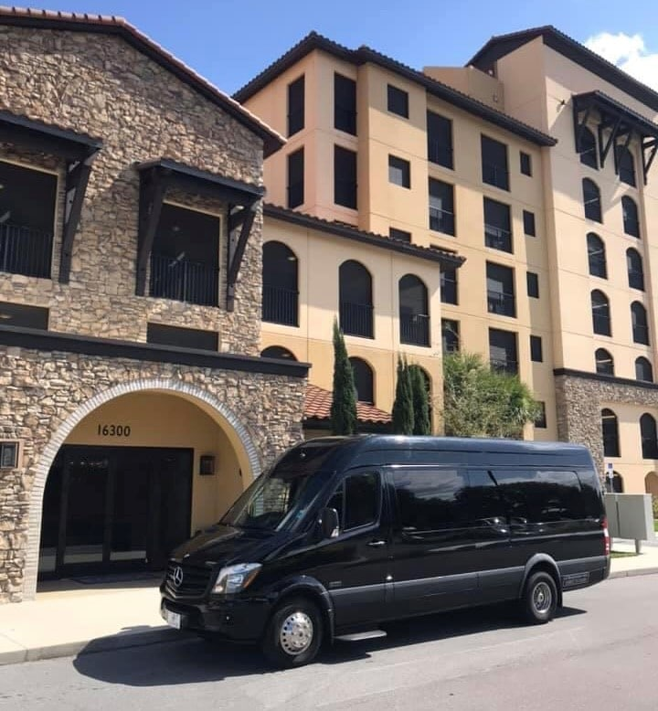 black van ready to transport guests for wedding