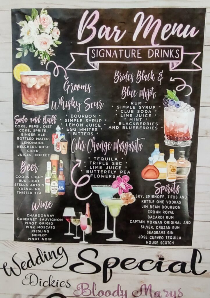 bars on Demand wall menu for drinks at a wedding