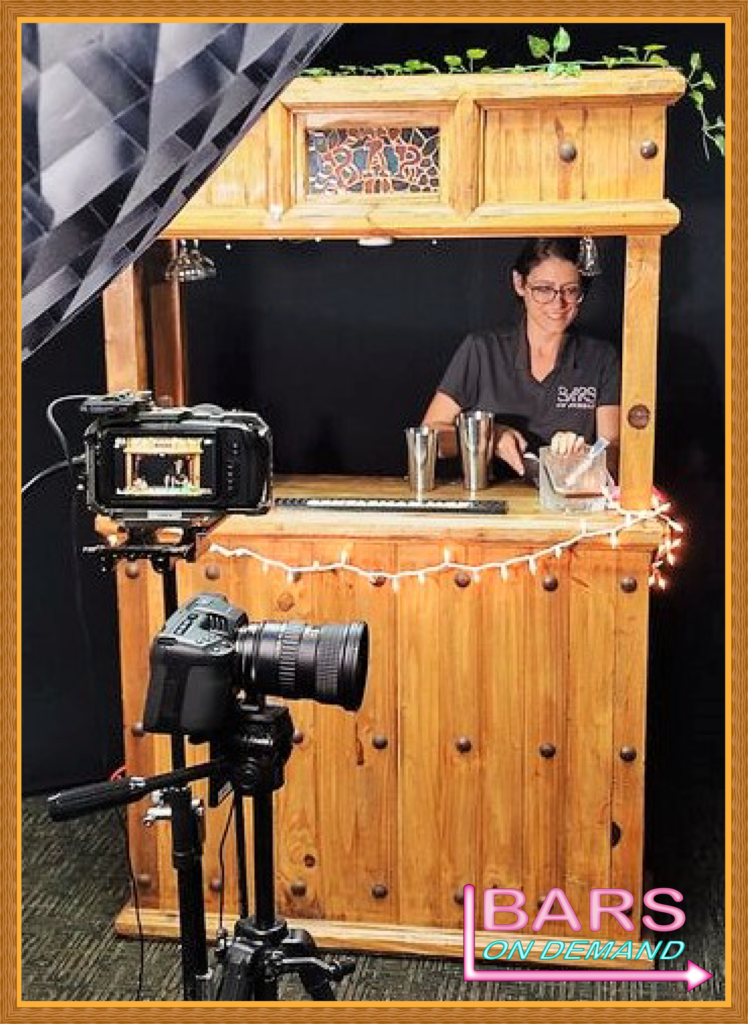 Wooden bar setup by Bars on Demand ready to be filmed