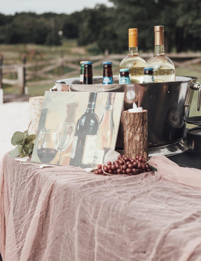 Wedding wine bar setup by Bars on Demand