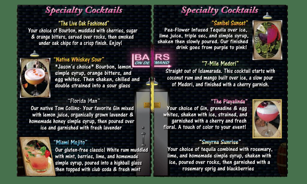 bar menu by Bars on Demand