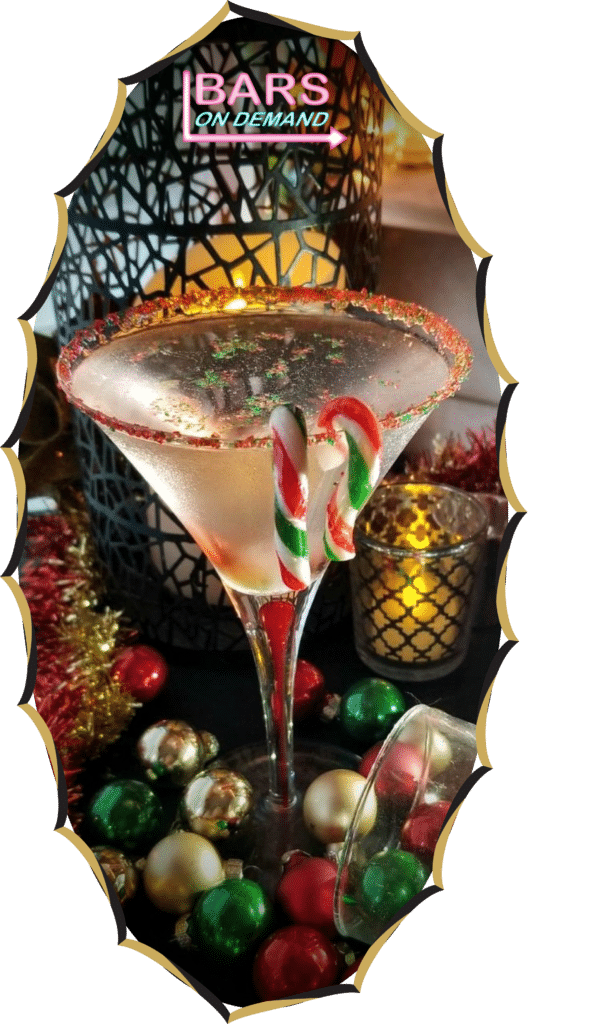 Bars on Demand Holiday beverage with candy canes