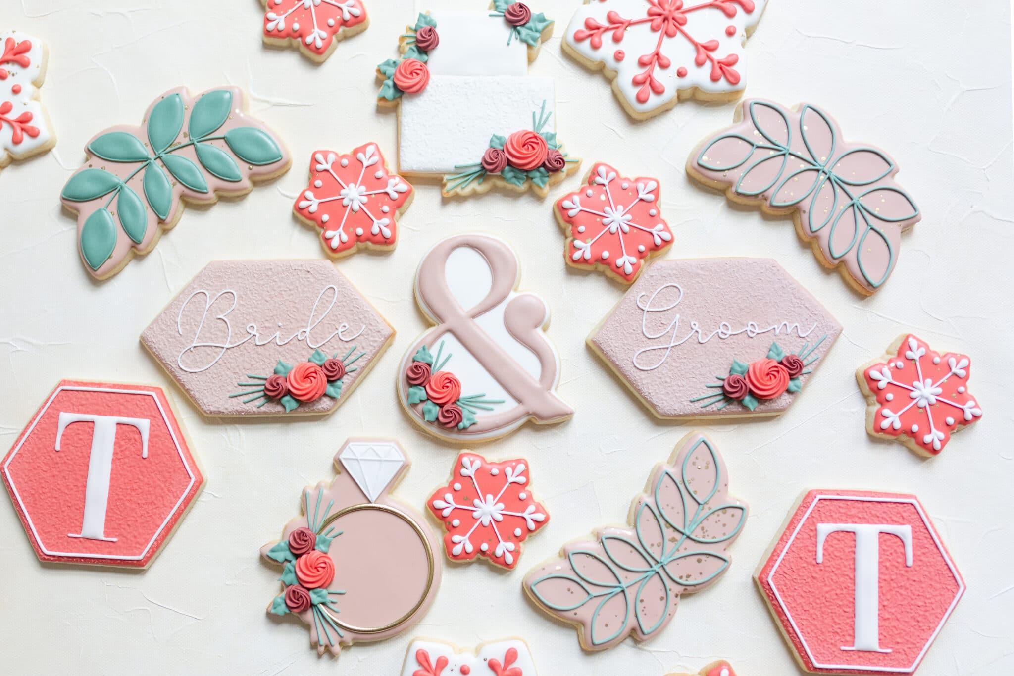 Christmas themed wedding inspiration cookies